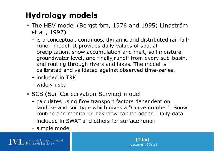 Hydrology models