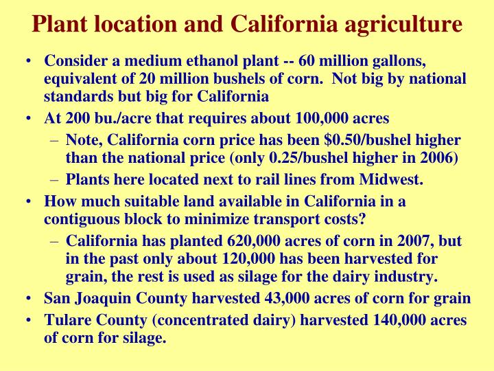 Plant location and California agriculture
