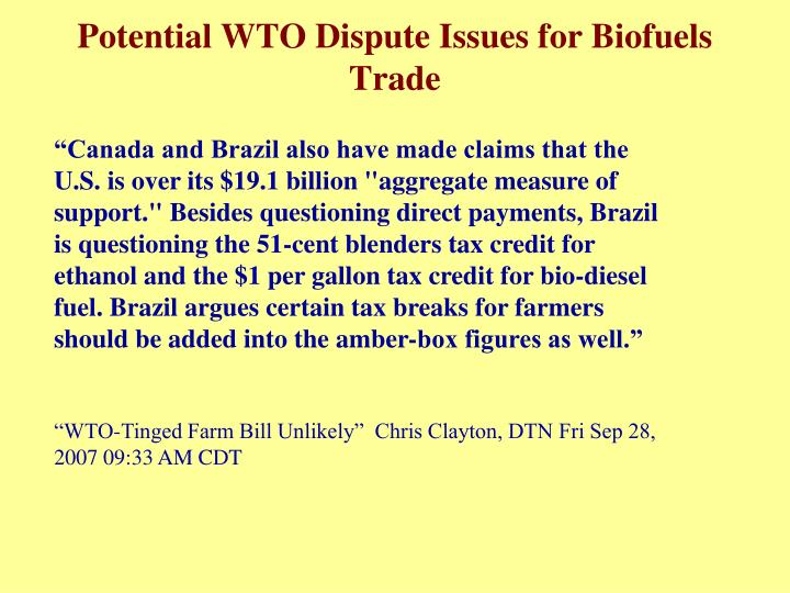 Potential WTO Dispute Issues for Biofuels Trade