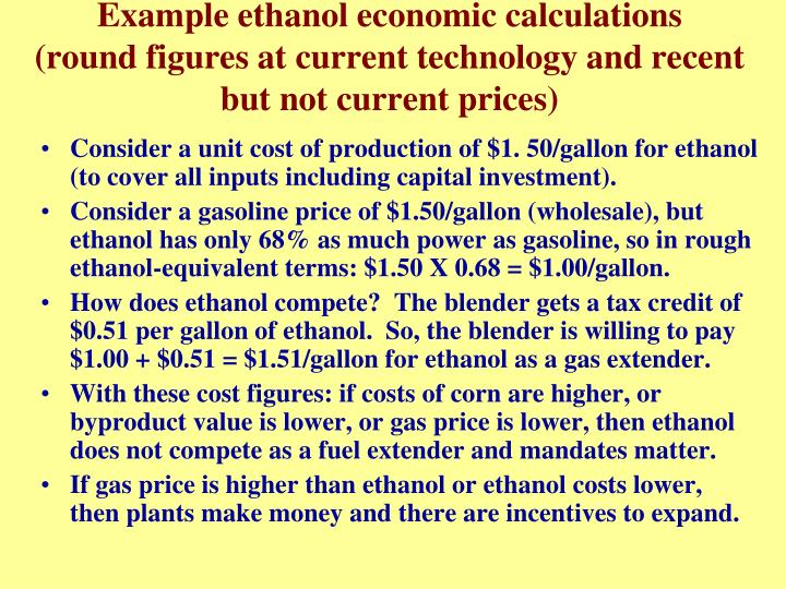 Example ethanol economic calculations