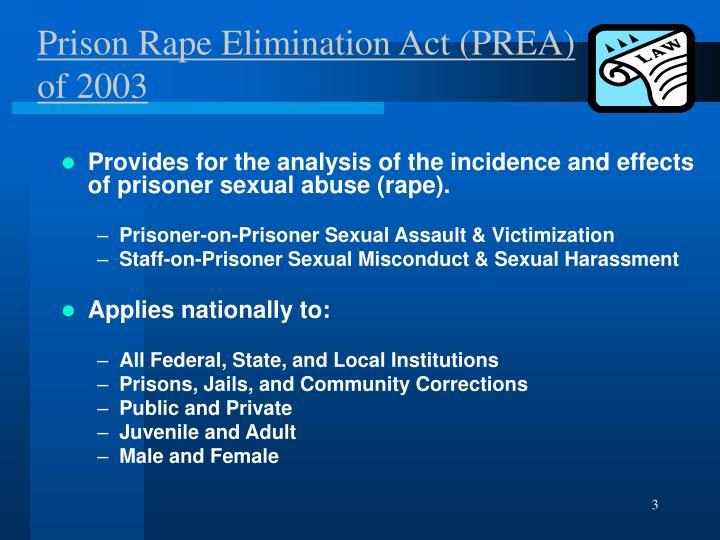 Prison rape elimination act prea of 2003
