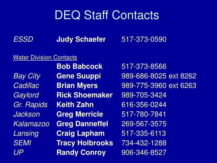 DEQ Staff Contacts