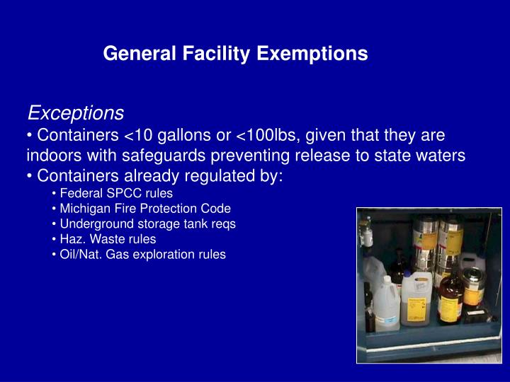 General Facility Exemptions