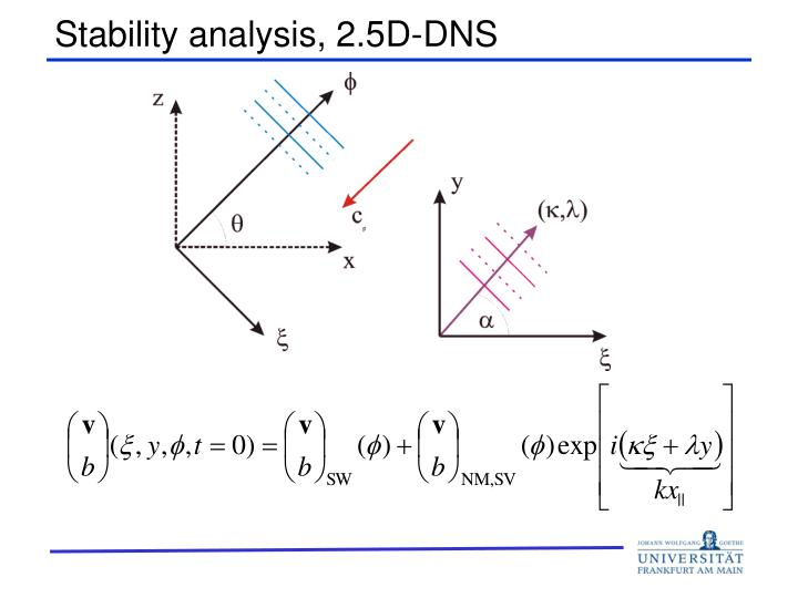 Stability analysis, 2.5D-DNS
