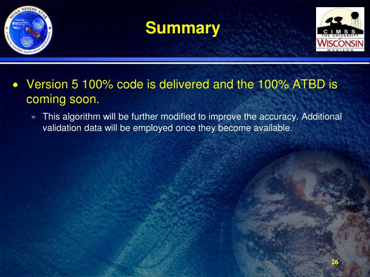 Version 5 100% code is delivered and the 100% ATBD is coming soon.