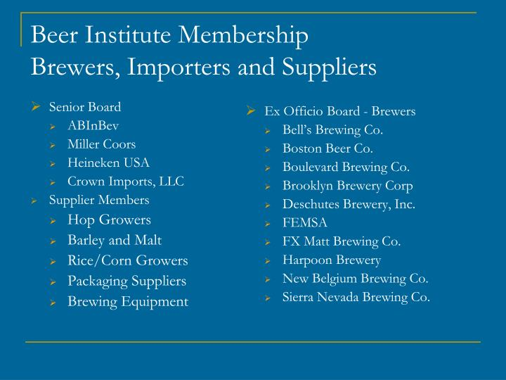 Beer institute membership brewers importers and suppliers