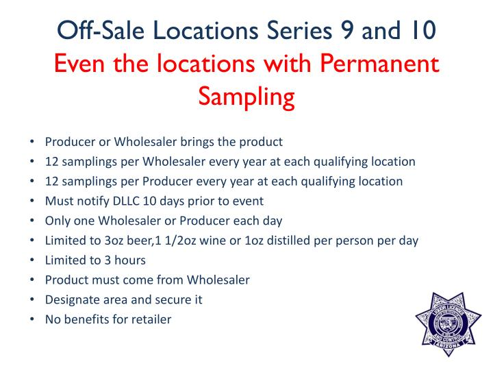Off-Sale Locations Series 9 and 10