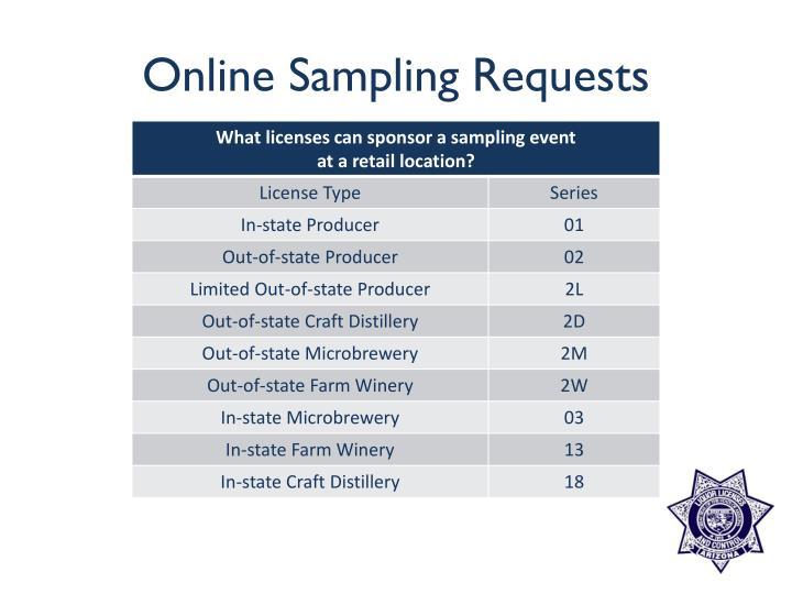Online Sampling Requests