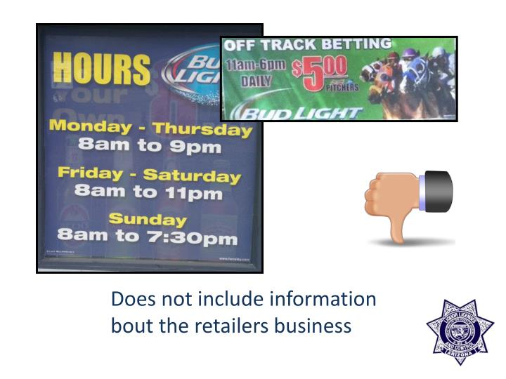 Does not include information bout the retailers business