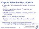 keys to effective use of nrcs