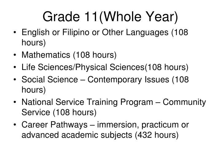 Grade 11(Whole Year)