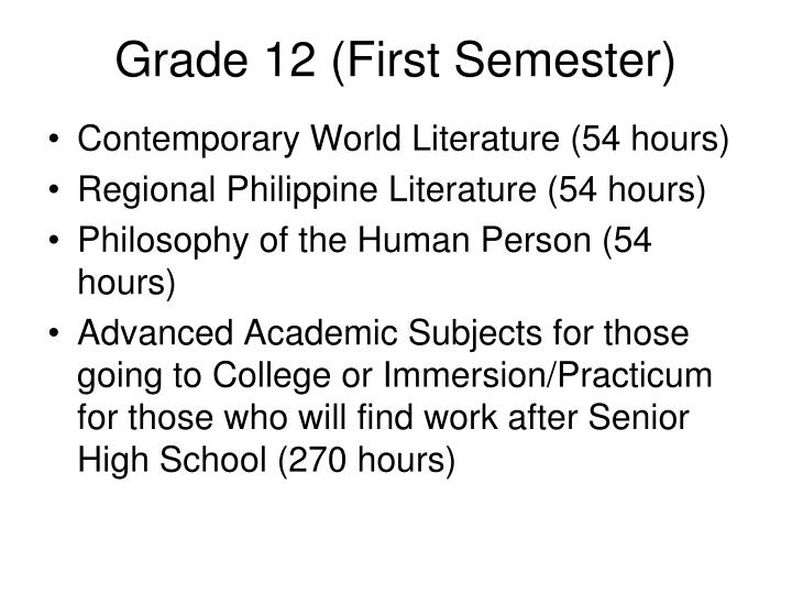 Grade 12 (First Semester)