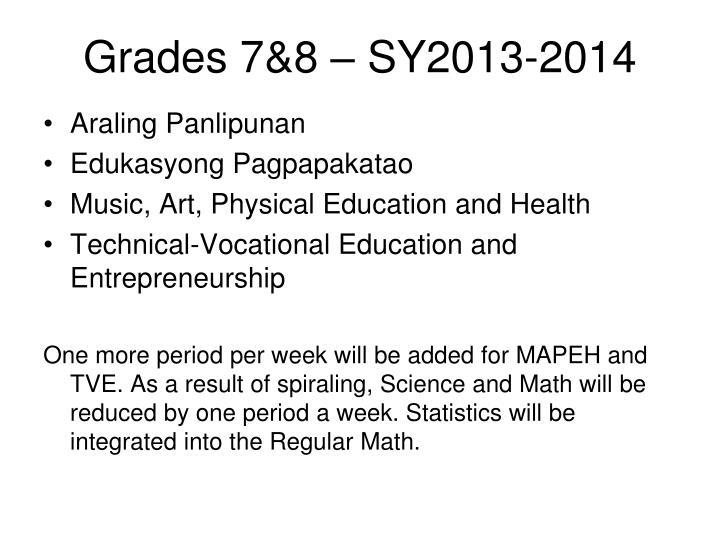 Grades 7&8 – SY2013-2014