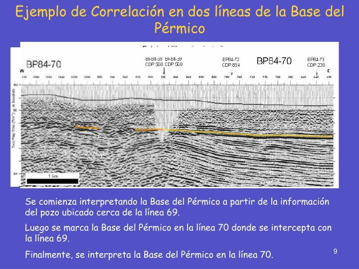 Ejemplo de Correlación en dos líneas de la Base del Pérmico