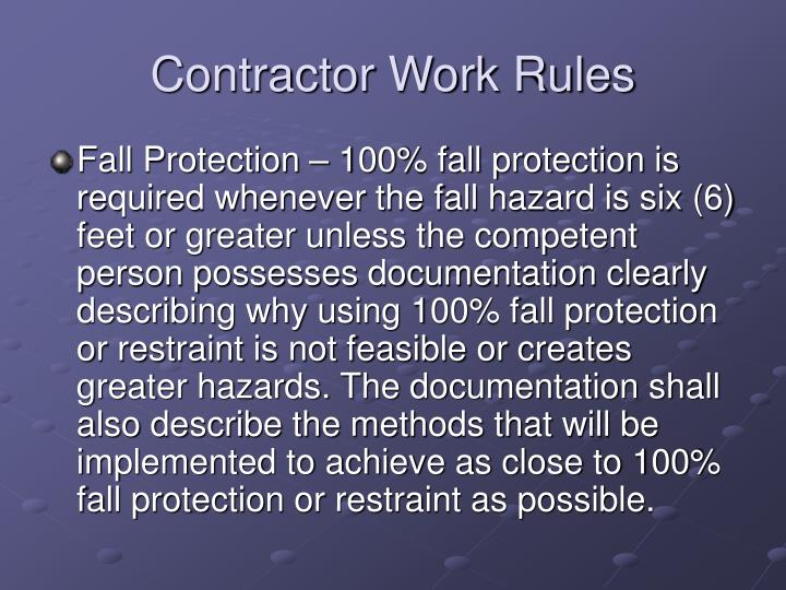 Contractor Work Rules