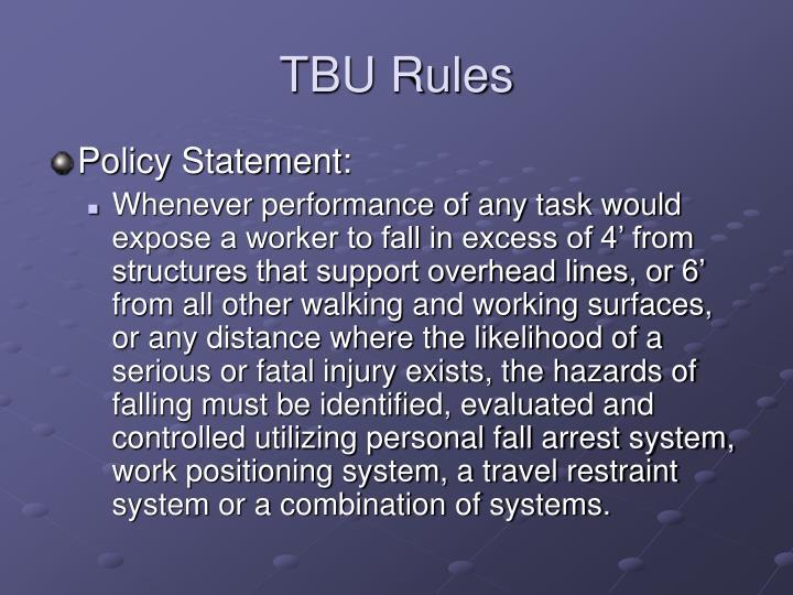 TBU Rules