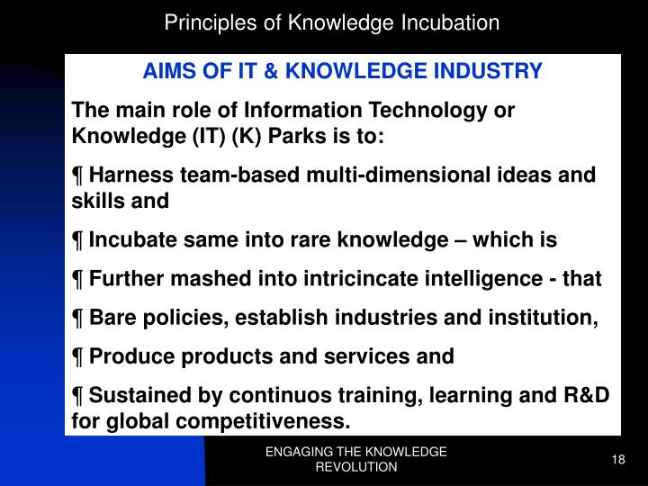 Principles of Knowledge Incubation