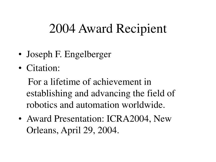 2004 Award Recipient
