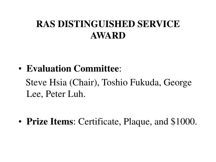 RAS DISTINGUISHED SERVICE AWARD