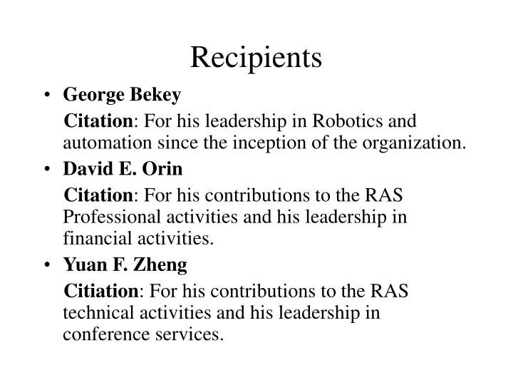 Recipients