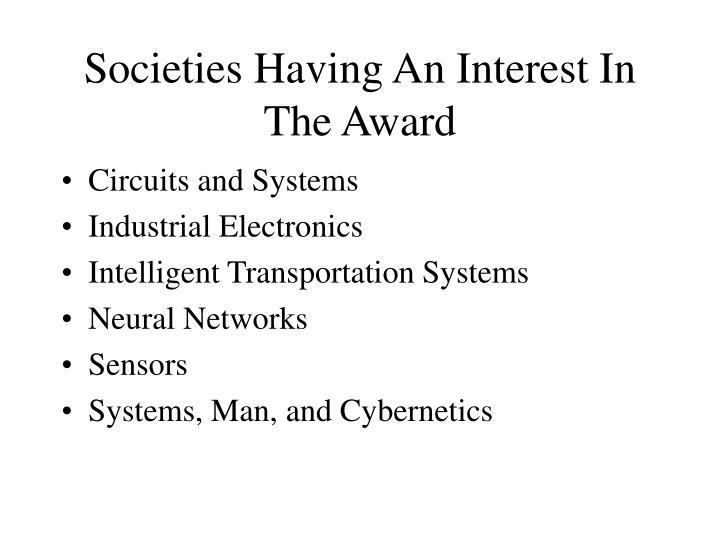 Societies Having An Interest In The Award