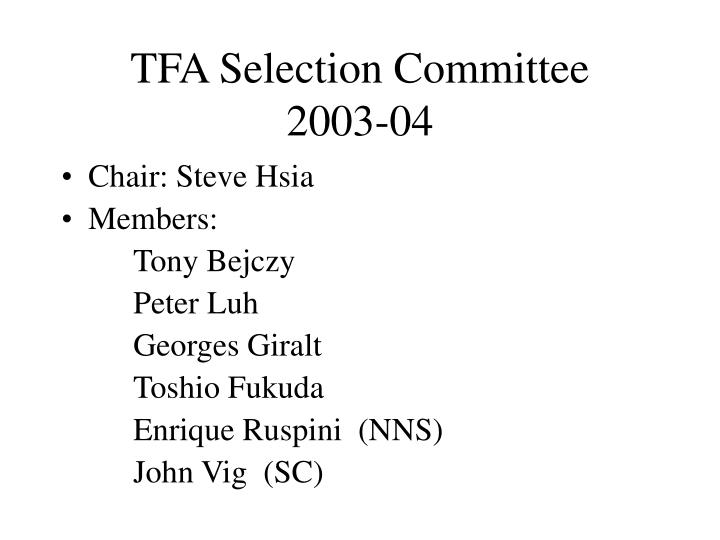 TFA Selection Committee