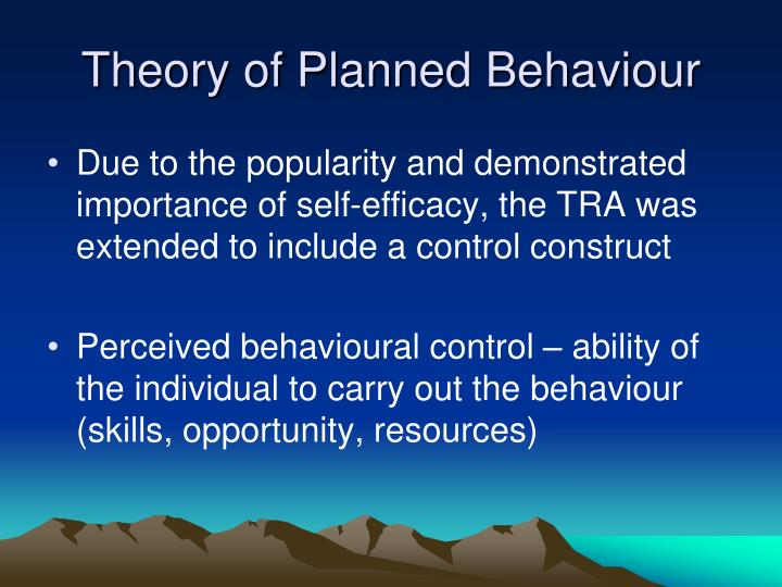 planned behaviour The theory of planned behaviour (tpb) has received considerable attention in the literature the present study is a quantitative integration and review of that research from a database of 185 independent studies published up to the end of 1997, the tpb accounted for 27% and 39% of the variance in behaviour and intention, respectively.