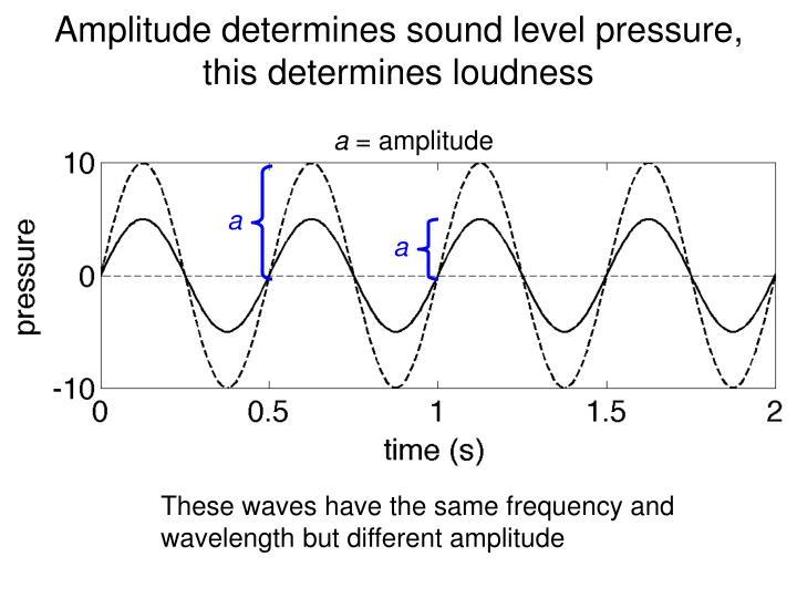 Amplitude determines sound level pressure,    this determines loudness