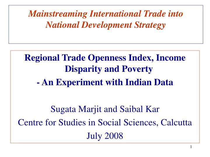 Mainstreaming international trade into national development strategy
