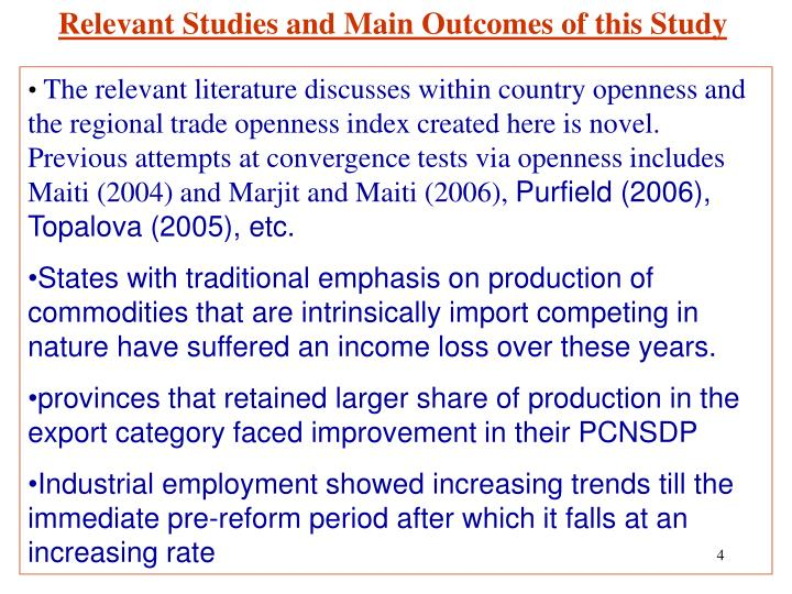 Relevant Studies and Main Outcomes of this Study