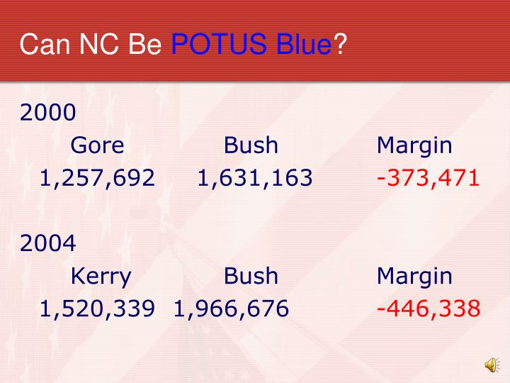 Can nc be potus blue