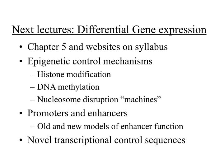 next lectures differential gene expression n.