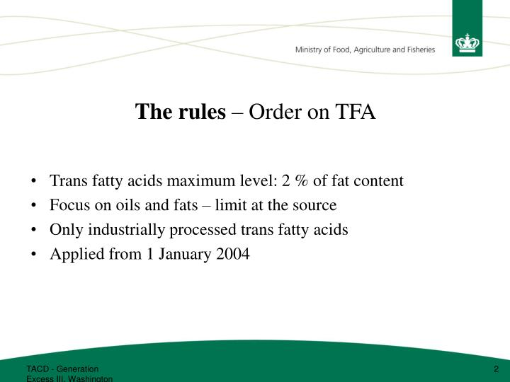 The rules order on tfa