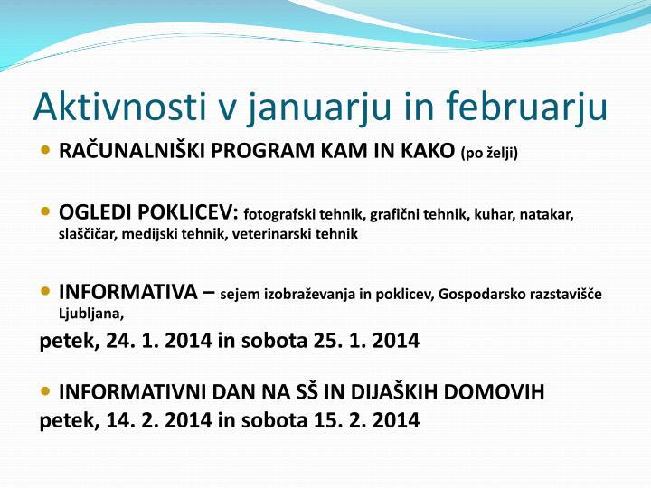 Aktivnosti v januarju in februarju