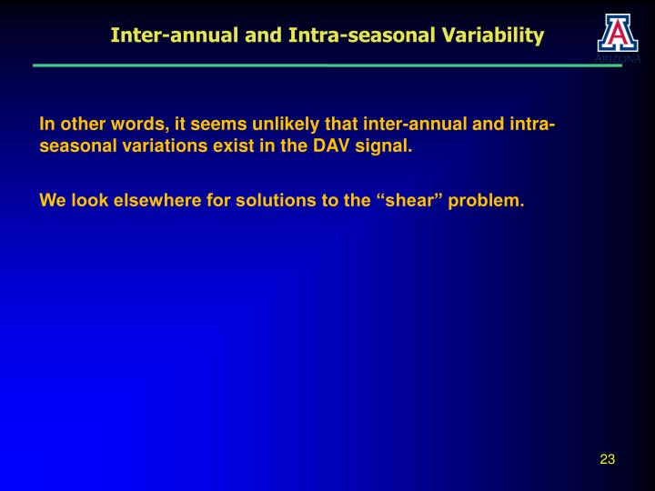 Inter-annual and Intra-seasonal Variability