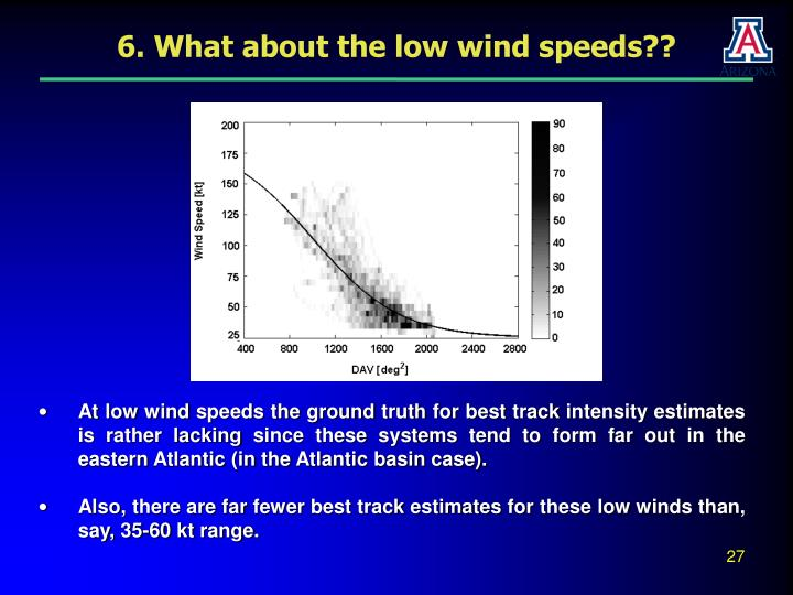 6. What about the low wind speeds??