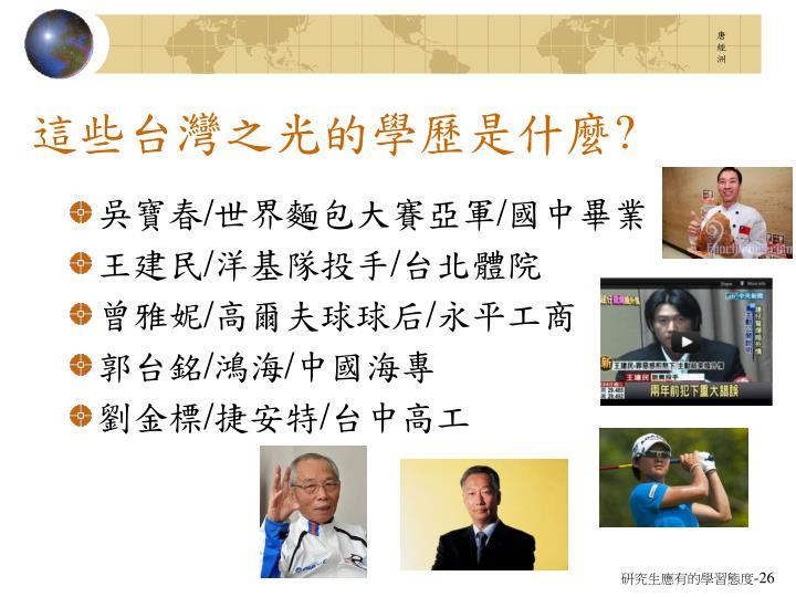 這些台灣之光的學歷是什麼