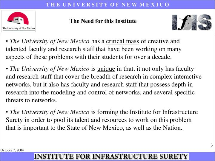 The Need for this Institute