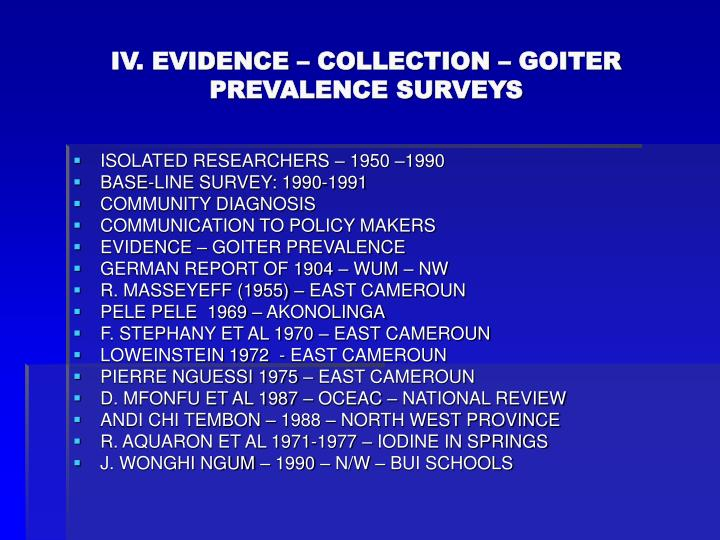 IV. EVIDENCE – COLLECTION – GOITER PREVALENCE SURVEYS