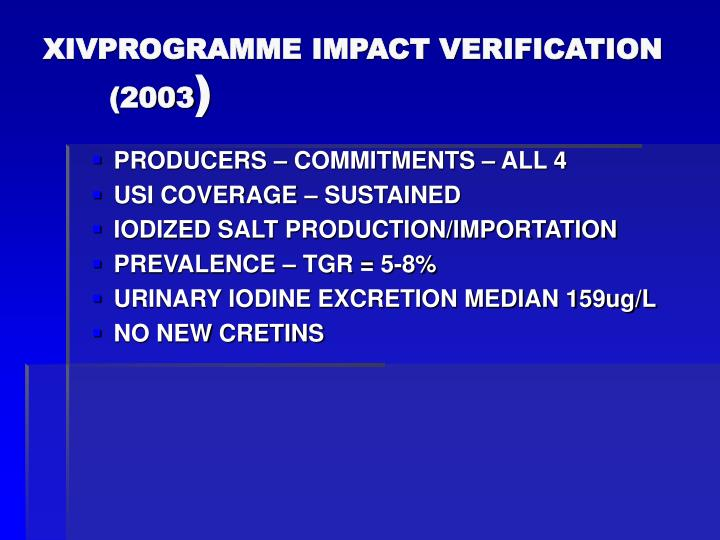 XIVPROGRAMME IMPACT VERIFICATION (2003