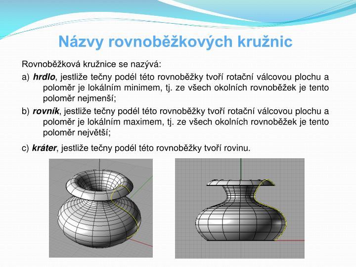Názvy rovnoběžkových kružnic