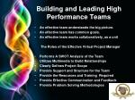 building and leading high performance teams
