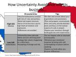 how uncertainty avoidance effects business