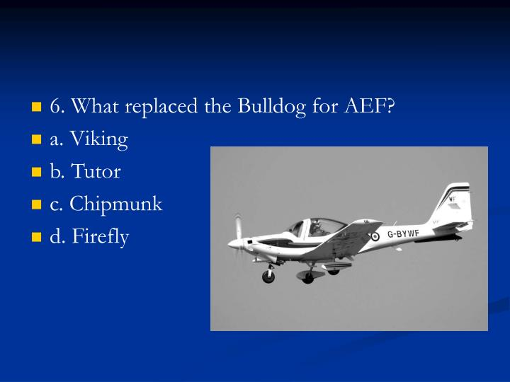 6. What replaced the Bulldog for AEF?