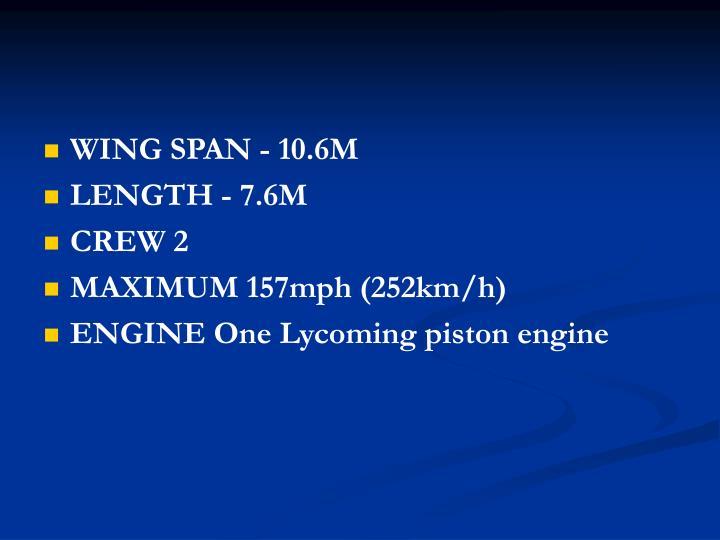 WING SPAN - 10.6M