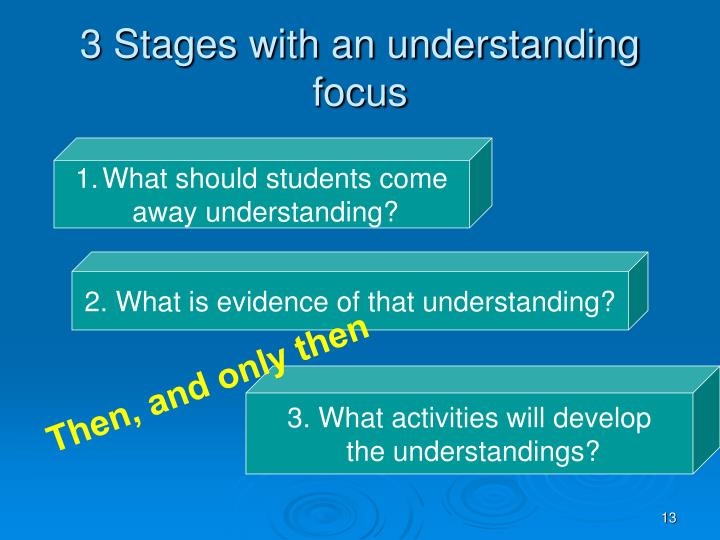 3 Stages with an understanding focus
