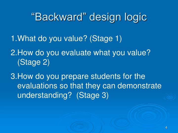 """""""Backward"""" design logic"""