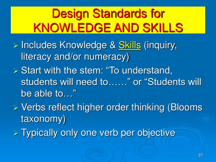 Design Standards for KNOWLEDGE AND SKILLS