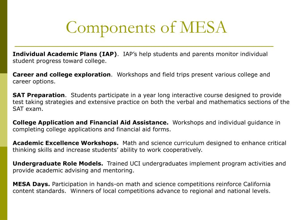 PPT - MESA Mathematics, Engineering, Science Achievement PowerPoint