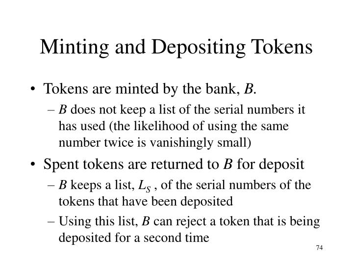 Minting and Depositing Tokens